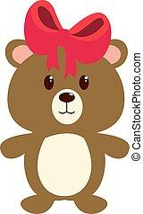 Teddy bear, illustration, vector on white background.