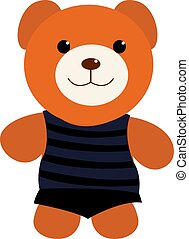 Teddy bear, illustration, vector on white background.