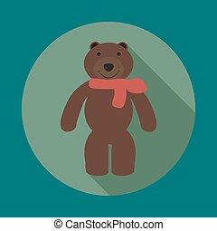 Teddy bear - Image of teddy bear with scarf on an isolated...