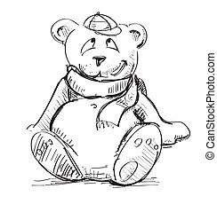Teddy bear in a cap and scarf