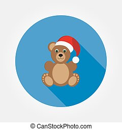 Teddy bear in a cap of Santa Claus