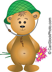 Teddy-bear in a helmet with a bouquet