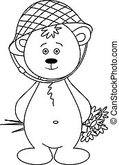 Teddy-bear in a helmet with a bouquet, contours
