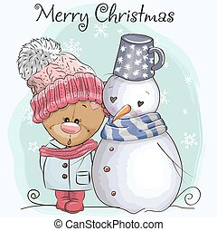 Teddy Bear in a knitted cap and snowman