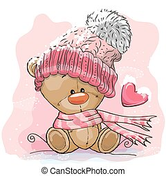 Teddy Bear in a knitted cap