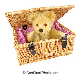 Teddy Bear In A Wicker Basket - Traditional teddy bear soft...