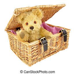 Teddy Bear In A Wicker Basket