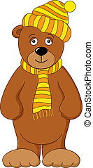Teddy bear in cap and scarf - Teddy bear cub toy in yellow...