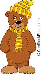 Teddy bear in cap and scarf