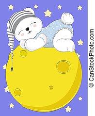 teddy bear in cap on moon
