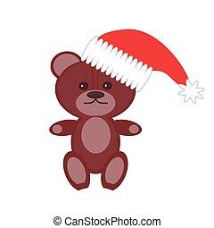 teddy bear in cristmass cap