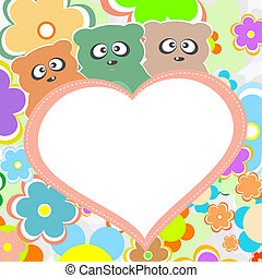 Teddy bear in flowers with big heart, vector