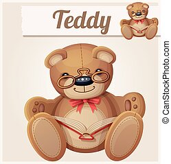 Teddy bear in glasses read the book