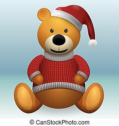 Teddy bear in red sweater red hat.