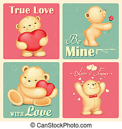 Teddy Bear in Retro Love Background - illustration of teddy...