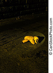 teddy bear in torch light