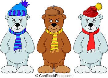 Teddy bear in winter costume, set