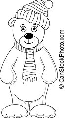Teddy bear in yellow cap and scarf, contours
