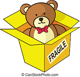 teddy bear inside box