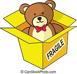 teddy bear inside box