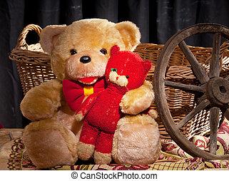 teddy bear is sitting in front of wicker basket