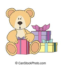 Teddy Bear is sitting with gift box