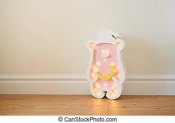 Teddy bear led nightlight for baby room