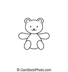 Teddy bear line art icon