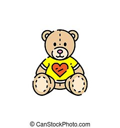 Teddy bear line icon