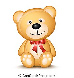 Little teddy bear isolated on white background