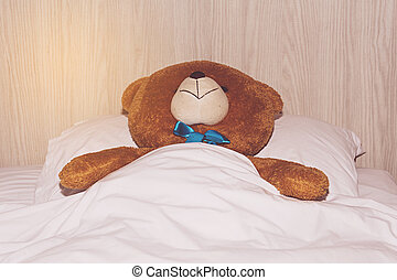 Teddy Bear lying in the bed