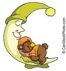 Teddy bear Moon sleep