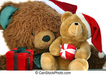 Teddy bear mother and baby at Christmas