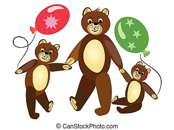 Teddy bear mother with teddy bear children. Cute teddy bears children carrying bals. Sitting teddy bear. Teddy bear group on walk. Children illustration.