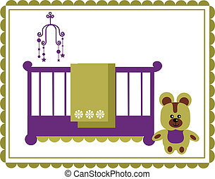 teddy bear next to baby cradle and mobile