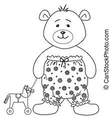 teddy-bear, noha, egy, játékszer, horsy, körvonal