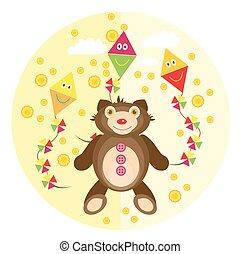 Teddy bear on a yellow background