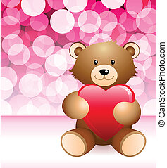 Teddy Bear on Glowing Background