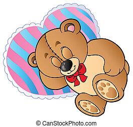Teddy bear on heart shaped pillow - vector illustration.