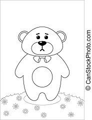 Teddy bear on meadow, contours
