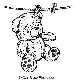 Teddy bear on rope engraving vector illustration