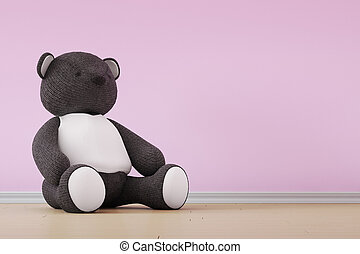 Teddy bear on pink wall and wooden floor