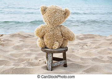 teddy bear on wooden stool in sand