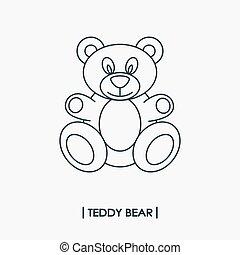 Teddy bear outline icon