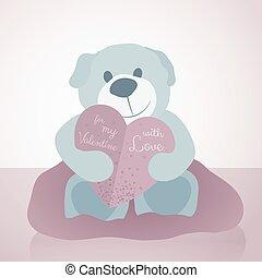 teddy bear paper heart