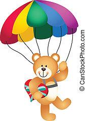 Teddy bear parachute holding heart - Scalable vectorial...