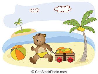 teddy bear play on the beach