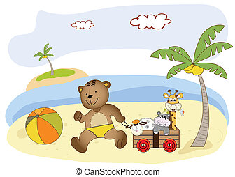 teddy bear play on the beach