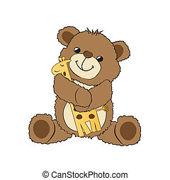 teddy bear playing with his toy, a giraffe, vector...