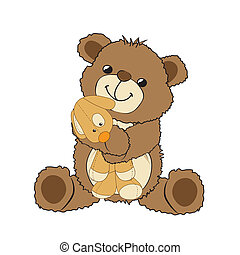 teddy bear playing with his toy, a little dog